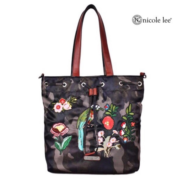 Nicole Lee Handbags - ✤ Krissy Camouflage Embroidery Bucket Bag